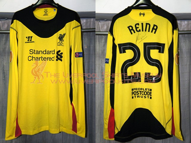 c1c59ecc735 Liverpool 2012-2013 Goalkeeper Away Europa League Player Shirt - As  Liverpool only applied People s Postcode Trust charity sponsor on the shirts  from Europa ...