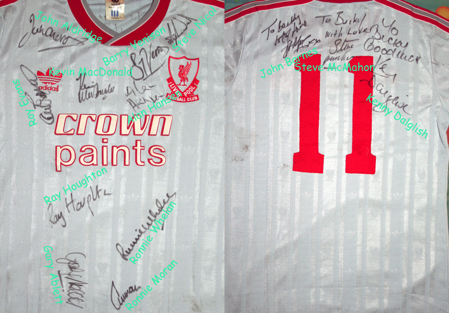"This shirt is personalised to a lady called ""Becky"", and autographed by the whole team in the front and back side."