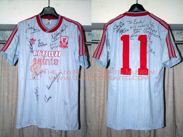 Liverpool 1987-1988 Away Player Shirt - Numbered 11 shirt belongs to Steve McMahon.