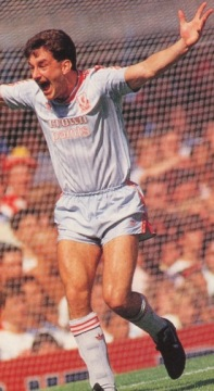 Featured John Aldridge wearing the grey away kit of season 1987-1988 with the white Crownpaints sponsor.