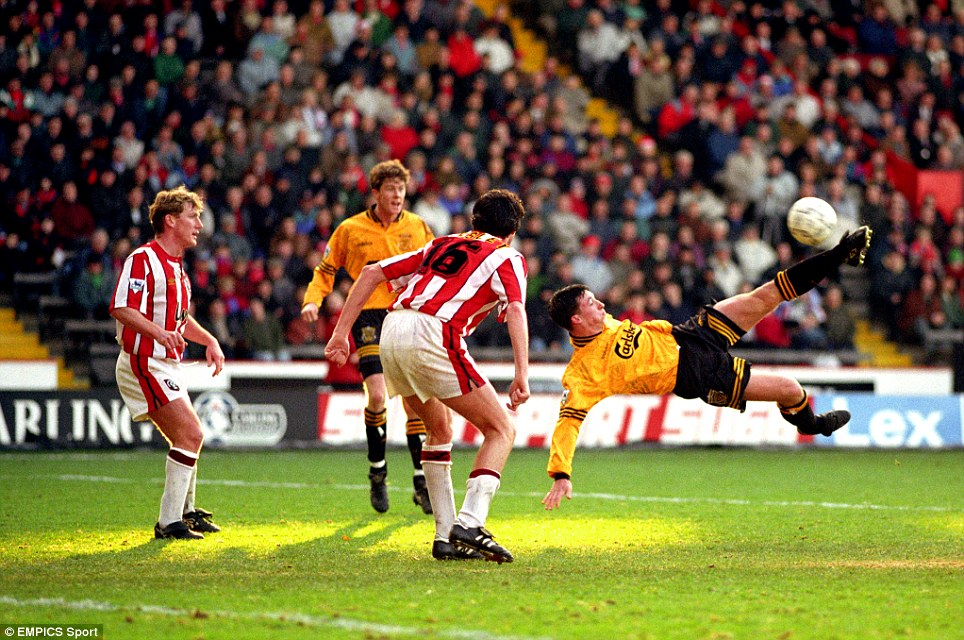 Featured Steve McManaman and Robbie Fowler wearing the 1993-1994 third  player shirt in the Premier League away match against Sheffield United 0256a397b