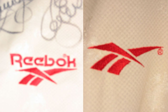 Apart from the missing Carlsberg sponsor, the Reebok motif is also simplified to a logo only, without the Reebok words in UEFA competitions.